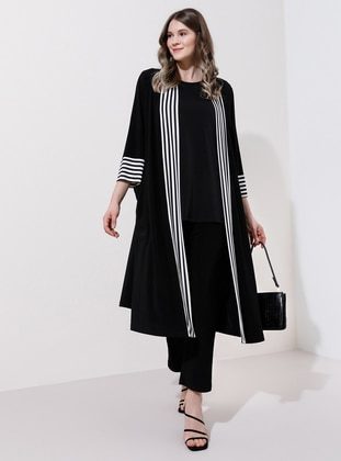 White - Black - Stripe - Unlined - Plus Size Coat