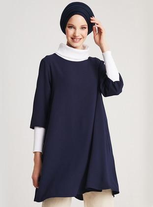 Navy Blue - Polo neck - Tunic