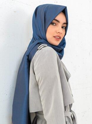 Blue - Fringe - %100 Silk - Shawl