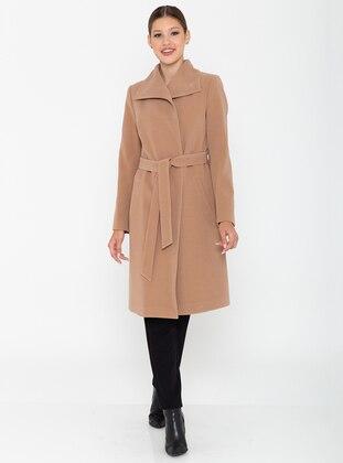 Camel - Fully Lined - Shawl Collar - Viscose - Coat