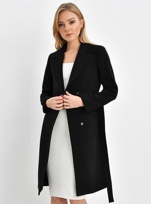 Black - Fully Lined - Shawl Collar - Viscose - Coat