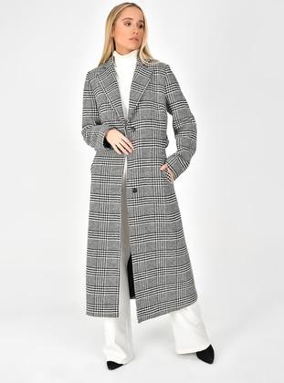 White - Black - Fully Lined - Shawl Collar - Viscose - Coat
