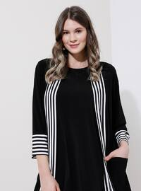 White - Black - Stripe - Unlined - Plus Size Coat