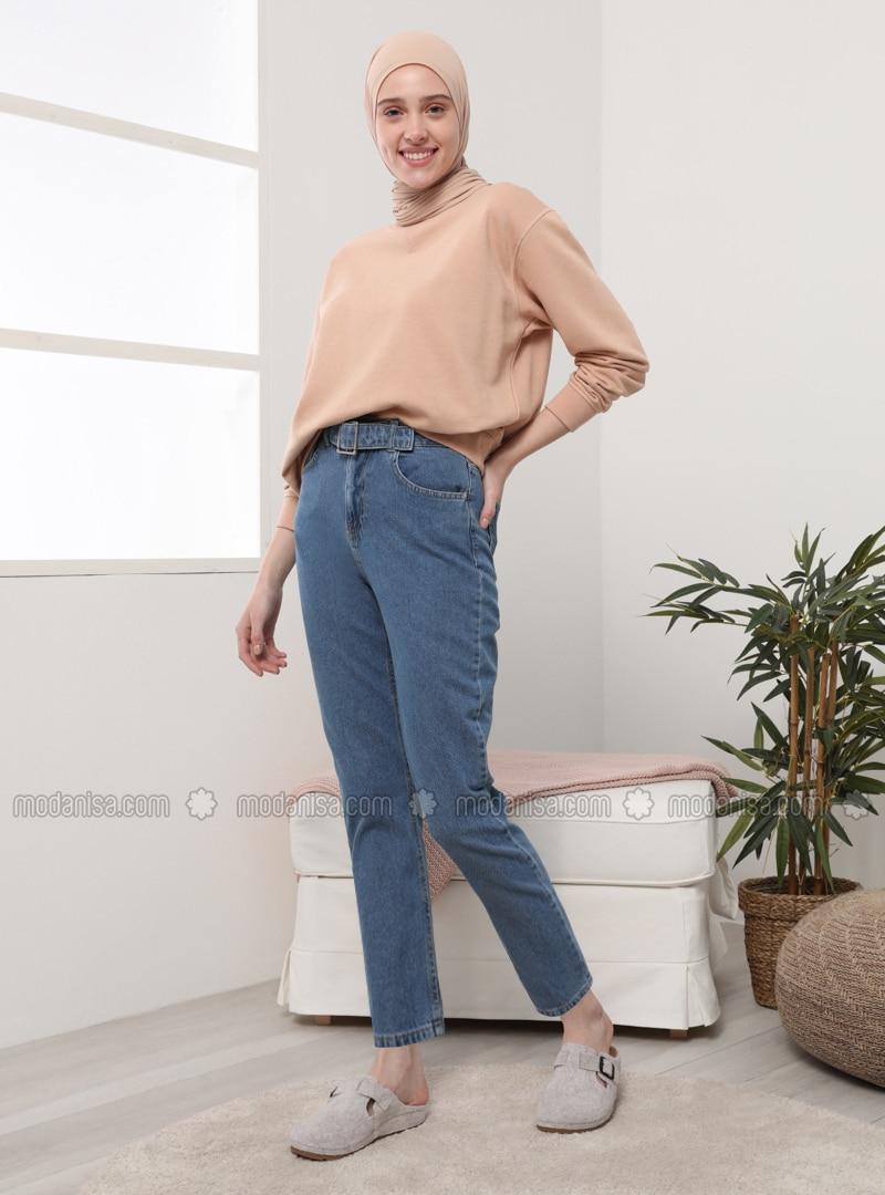 Indigo - Blue - Denim - - Pants