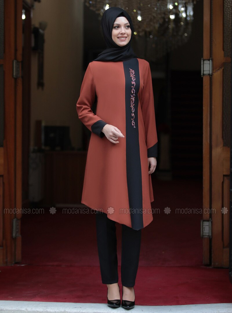 Terra Cotta - Unlined - Crepe - Suit