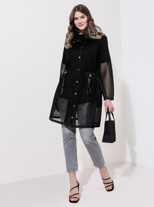 Black - Unlined - Point Collar - Plus Size Trench coat - Alia