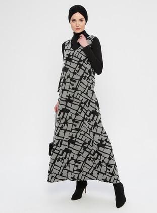 Ecru - Black - Multi - Crew neck - Fully Lined - Dress