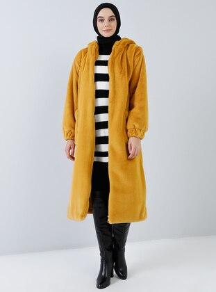 Mustard - Fully Lined - Shawl Collar - Coat