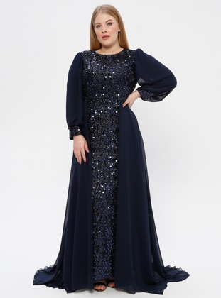 Navy Blue - Fully Lined - Crew neck - Muslim Plus Size Evening Dress - Arıkan