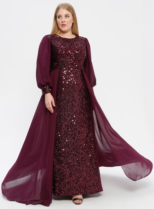 Plum - Fully Lined - Crew neck - Muslim Plus Size Evening Dress - Arıkan