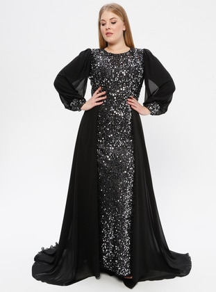 Black - Fully Lined - Crew neck - Muslim Plus Size Evening Dress - Arıkan