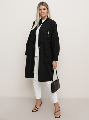 Black - Unlined - Crew neck - Plus Size Trench coat - Alia