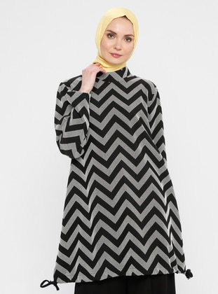 Ecru - Black - Geometric - Crew neck - Tunic