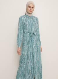 Su Yeşili - Yeşil - Çok renkli - Fransız yakalı - Astarsız kumaş - Viskon - Elbise