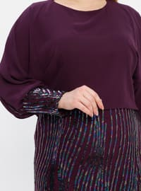Plum - Fully Lined - Crew neck - Modest Plus Size Evening Dress