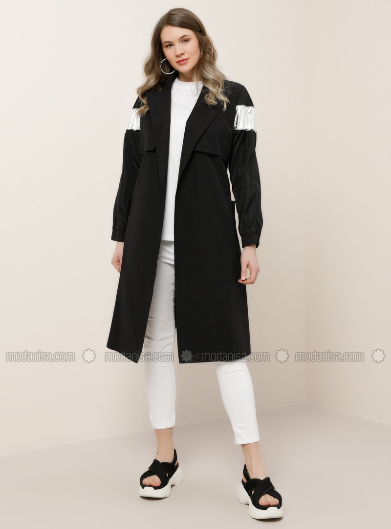 Black - Unlined - Shawl Collar - Plus Size Trench coat