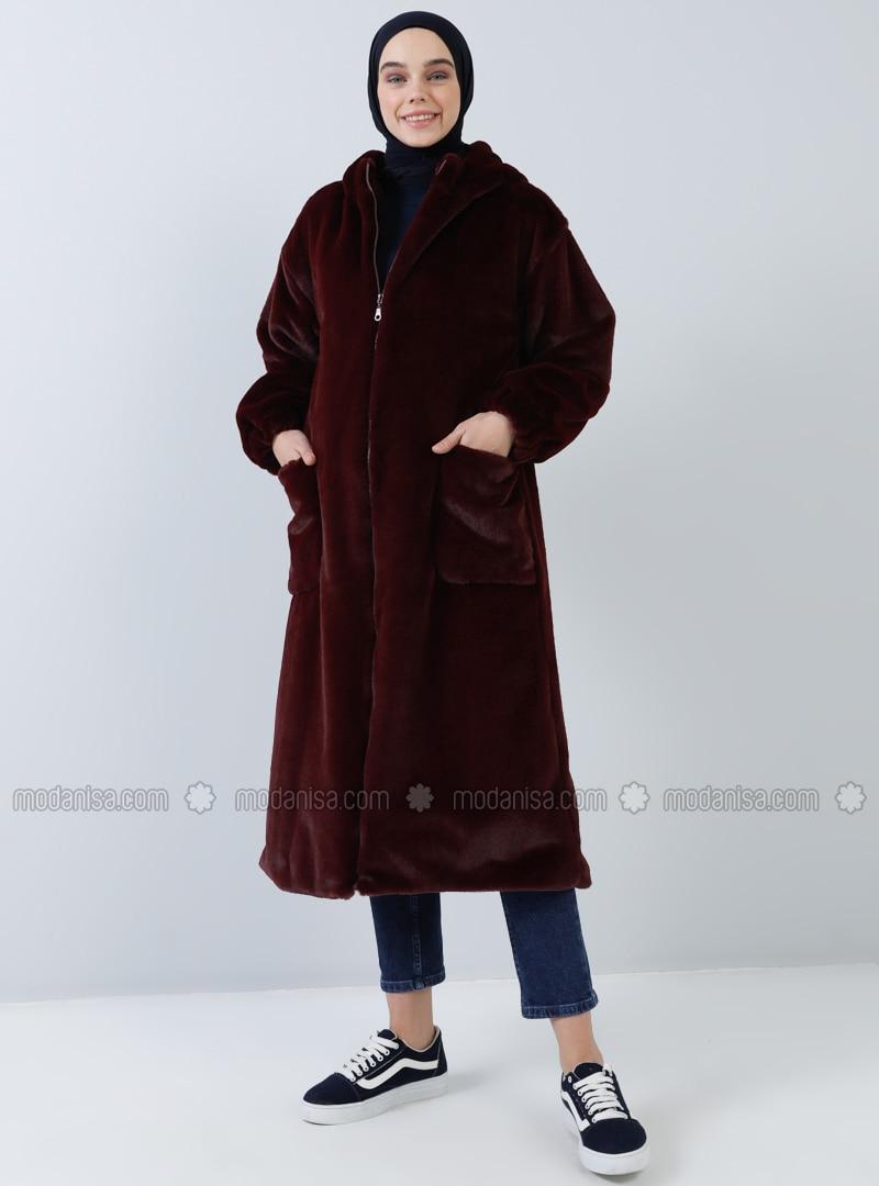Maroon - Fully Lined - Shawl Collar - Coat