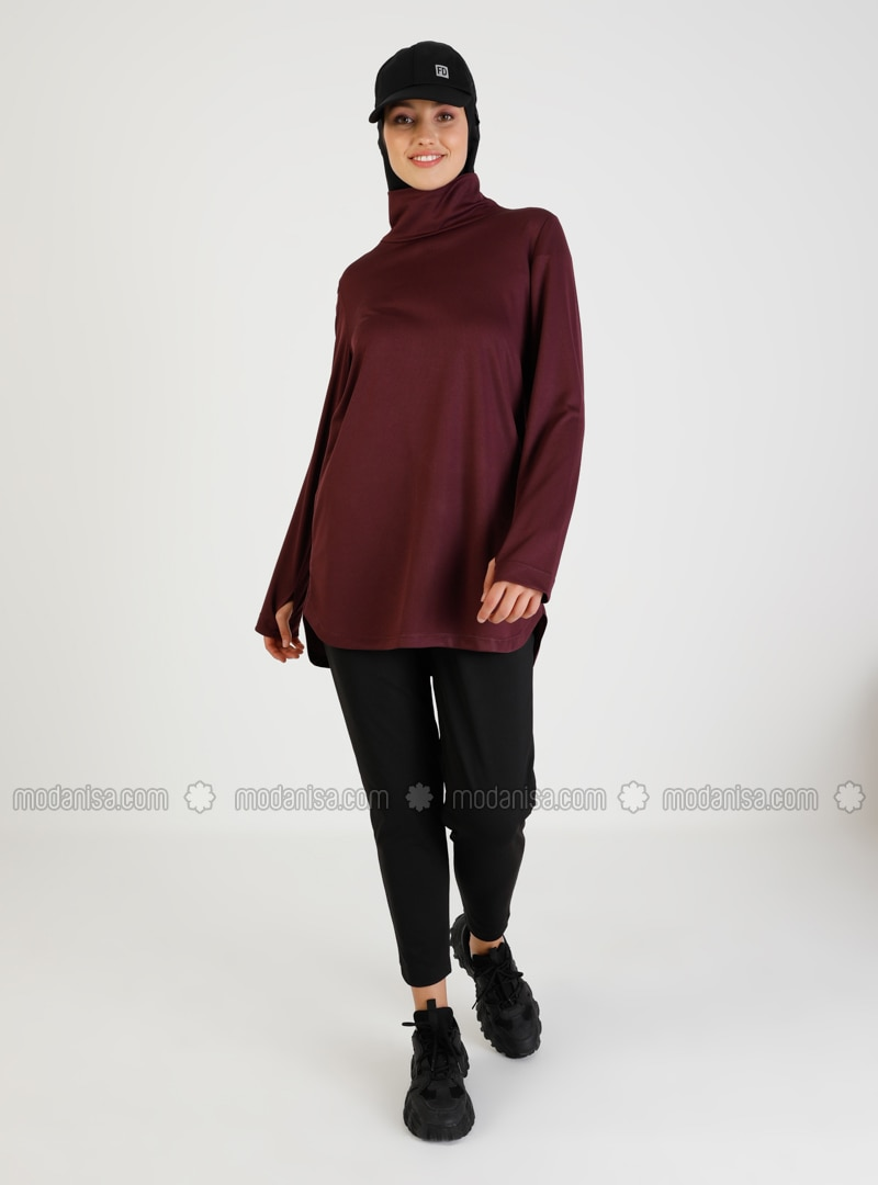 Maroon - Polo neck - Tracksuit Top