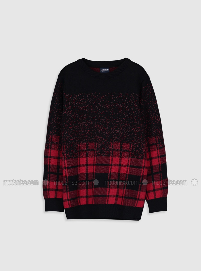 Printed - Crew neck - Red - Boys` Pullover