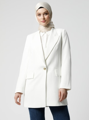 White - Fully Lined - Shawl Collar - Jacket - Refka