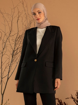 Black - Fully Lined - Shawl Collar - Jacket - Refka