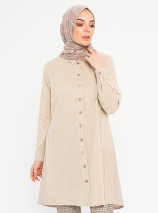 Beige - Stripe - Point Collar -  - Tunic