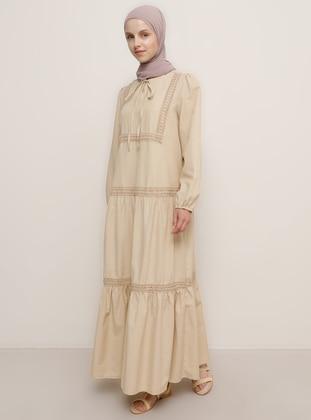 Camel - Crew neck - Unlined -  - Dress