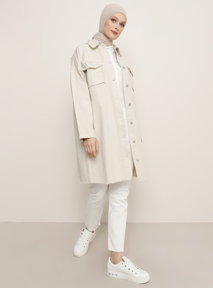Stone - Unlined - Point Collar - Denim -  - Jacket - Refka