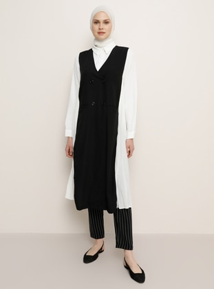 Black - Unlined - V neck Collar - Vest