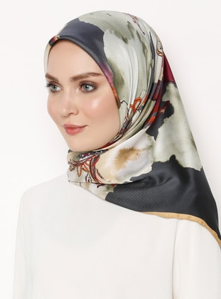 Anthracite - Multi - Printed - Rayon - Scarf