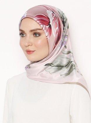 Multi - Pink - Printed - Rayon - Scarf