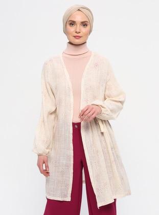 Ecru - Unlined - V neck Collar - Jacket