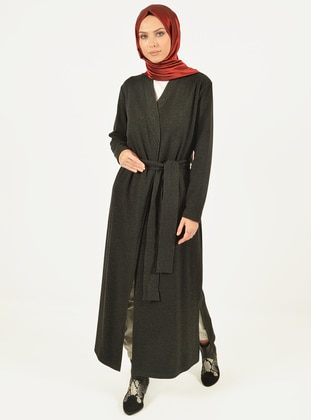 Black - V neck Collar -  - Abaya