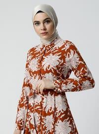 Tabac - Multicolore - Col français - Tissu non doublé - Viscose - Robe