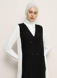 Black - Unlined - V neck Collar - Vest