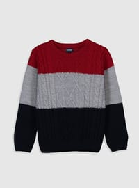 Stripe - Crew neck - Red - Boys` Pullover