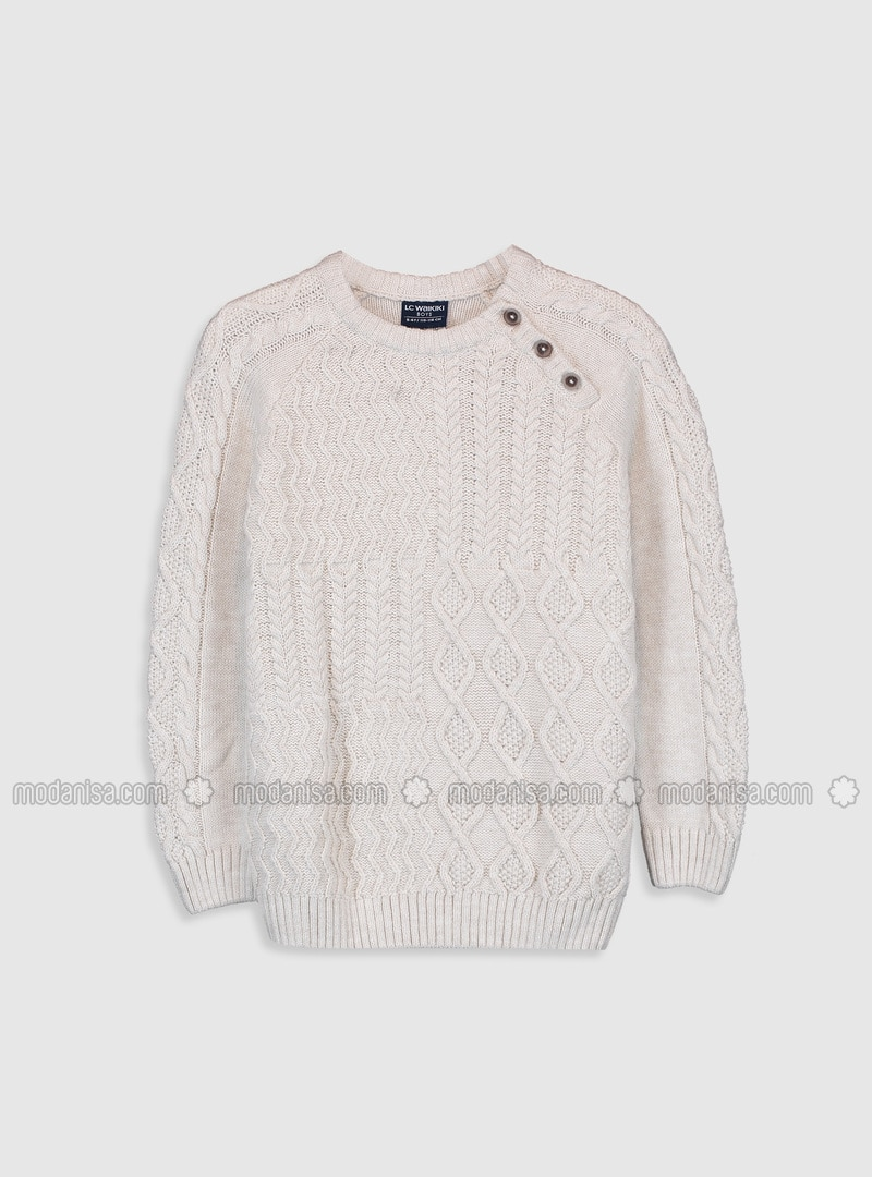 Crew neck - Ecru - Boys` Pullover