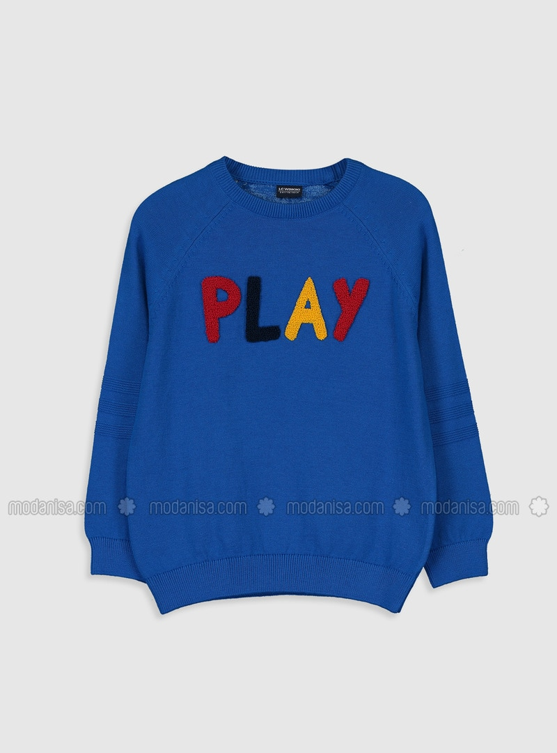 Printed - Crew neck - Blue - Boys` Pullover