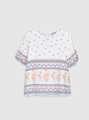Printed - White - Girls` Blouse