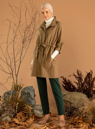 Khaki - Unlined - Polo neck - Trench Coat