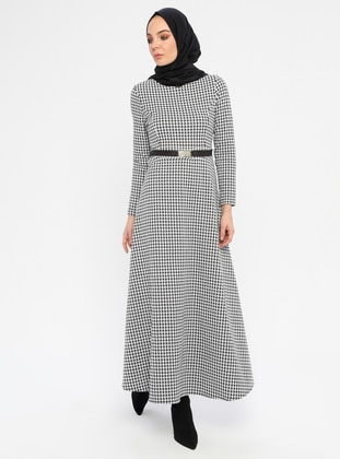 White - Black - Checkered - Crew neck - Unlined - Acrylic -  - Dress
