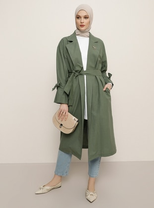 Khaki - Unlined - Shawl Collar - Linen -  - Trench Coat