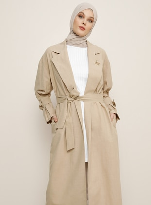 Mink - Unlined - Shawl Collar - Linen -  - Trench Coat - Refka