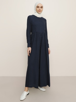 Navy Blue - Polka Dot - Unlined - Crew neck - Viscose - Jumpsuit