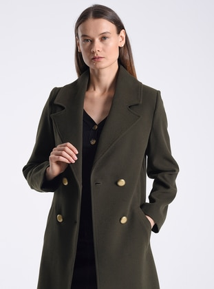 Khaki - Fully Lined - V neck Collar - Acrylic - Wool Blend - Coat