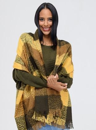 Acrylic - Mustard - Printed - Shawl Wrap