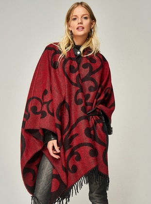 Red - Multi - Acrylic - Poncho