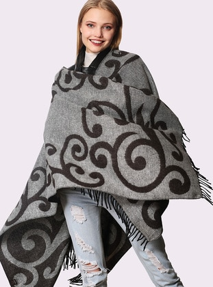 Gray - Multi - Acrylic - Poncho - FORUM FASHION