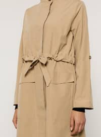 Camel - Unlined - Polo neck - Trench Coat