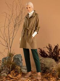 Khaki - Unlined - Polo neck - Trench Coat